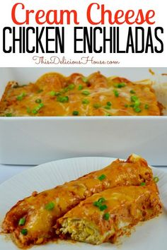 Cream Cheese Chicken Enchiladas are a delicious and easy meal to make ahead. Cook the chicken in your crockpot for easy meal prep and top the enchiladas with a creamy sour cream enchilada sauce. #creamcheesechickenenchiladas #chickenenchiladas Sour Cream Enchilada Sauce, Sour Cream Enchiladas, Chicken Enchiladas, Barbecue Recipes, Grilling Recipes, Crockpot Recipes, Italian Dinner Recipes, Mexican Food Recipes, Mexican Dishes