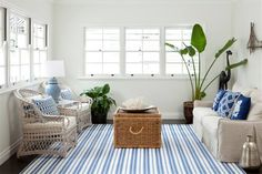 House of Turquoise: Porchlight Interiors Cottage Living Rooms, Home Living Room, Apartment Living, Living Room Designs, Coastal Living, Cozy Living, Coastal Style, Coastal Decor, Small Living