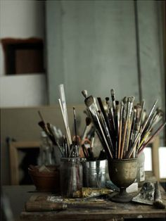 I love everything about this! Old art supplies, well loved, housed in antiques! // Hans Blomquist