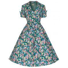 Green Floral 'Courtney' Swing Dress   Vintage Inspired Fashion - Lindy Bop