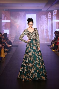 emerald green anarkali , emerald green and gold , long sleeves , all over gold work , heavy anarkali , sister of the bride , sunning , glamorous , royal , classy