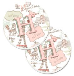 Letter H Love in Paris Pink Set of 2 Cup Holder Car Coasters CJ2002-HCARC