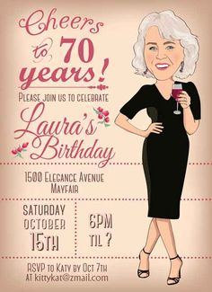 A selection of tasteful birthday invitations chosen by a professional party planner 70th Birthday Party Ideas For Mom, 75th Birthday Parties, 80th Birthday, Birthday Banners, 50th Birthday Party Invitations, Birthday Woman, Carpe Diem, Invitation Ideas, Lalaloopsy Party