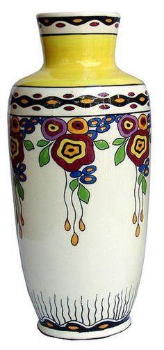 Belgian Art Deco Ceramic Vase by Charles Catteau for Boch Freres