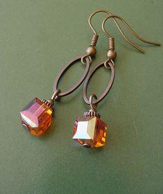 Items similar to Bonfire Style 1 // Orange Crystal Cube / Antique Copper Finish Dangle Earrings on Etsy
