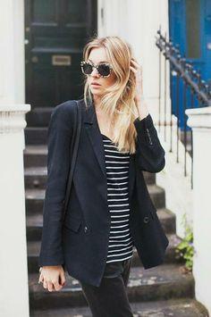 navy blazer + striped tee.