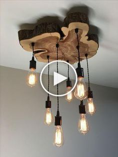 Custom Made Custom Lighting Chandeliers, Pendants. - in 2020 Modern Rustic Decor, Rustic Industrial, Vintage Home Decor, Log Furniture, Farmhouse Furniture, Handmade Home, Diy Bedroom Decor, Diy Home Decor, House Ceiling Design