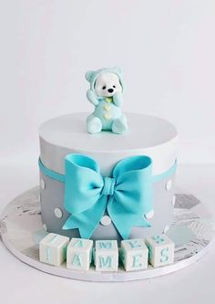 Torta Baby Shower, Baby Shower Cakes For Boys, Baby Boy Cakes, Baby Birthday Cakes, 1st Boy Birthday, Fondant Baby, Fondant Cakes, Teddy Bear Cakes, Baby Shower Backdrop