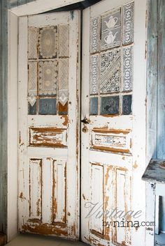 White doors, weathered, cracks, aged, old doors, entrance, doorway, window, lace, photo