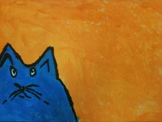 Art Room Blog. Complimentary Cat. Could have them pick any animal using complimentary colors in subject and background.
