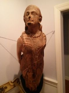 """Figurehead from barkentine Altamaha.  Built in Glasgow, Scotland, in 1846 named """"Gypsy Queen"""".  Later renamed """"Termagant"""". Sold to an American Company and renamed """"Altamaha"""" with her home port in Boston. She was on her way to Boston from Georgia when, she struck the partially submerged wreck of the Vanderbilt yacht """"Alva"""".  Attempting to save the vessel, Capt. Parsons beached her on Inward Point on Monomoy. Crew was saved. #chathamhistoricalsociety, #atwoodhouse, #capecod, #chatham, #ship"""