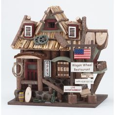 Western Hotel Restaurant Birdhouse Cowboy Country Garden Decor | eBay