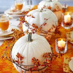 Pumpkin centerpieces. White pumpkins would be a nice touch.