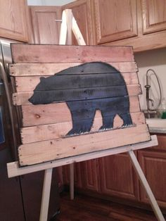 WV black bear from recycled materials Hunting Signs, Black Bear, Recycled Materials, Home Goods, Recycling, Rustic, Chair, Projects, Furniture