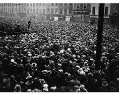 "March 13, 1922    Michael Collins addressing a mass meeting in Cork, described by photographer W.D. Hogan as a ""Free State demonstration"". Sean McKeon is also somewhere on the platform with Collins."
