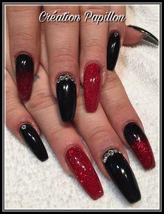 Black Acrylic Nails, Black Nails, Red Nails, Glitter Nails, Red Glitter, Silver Nail Designs, Simple Nail Designs, Nail Art Designs, Nails Design