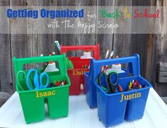 This is for school supplies for each kid, but I think this would be a great idea to keep scissors, tape, stapler, and all this miscellaneous tools you might need and usually keep in a junk drawer.