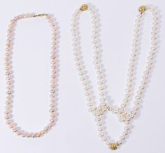 Lot 208: 18k Gold and Cultured Pearl Jewelry Assortment; Including three necklaces and a bracelet; all hand tied; one necklace having pale pink 6mm pearls; the other two choker necklaces and matching bracelet (which can be used as a necklace extension) having 7mm pearls