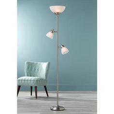 ellery brushed steel tree torchiere 3 light floor lamp style 1y326