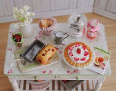1:12 Scale Dollhouse Baking Table Filled With Fresh Baked Sweets by Anna Kerley
