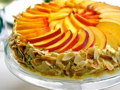 Almond Meringue Cake with Peaches from CookingChannelTV.com