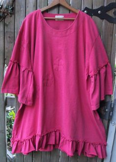 Plus Size Clothing/ Hot Pink Cotton Knit Ruffled by SheerFab