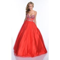Envious Couture 16174 Ball Gown Long Strapless Sleeveless ($412) ❤ liked on Polyvore featuring dresses, gowns, formal dresses, red, long evening dresses, formal evening gowns, long formal gowns, prom gowns and long red gown
