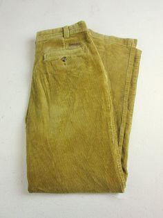 Mens Timberland Vintage Retro Corduroy Trousers Beige/Tan 32W 100% Cotton