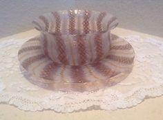 Murano Venetian Pink Gold Diamond Optic Glass Finger Bowl & Under Plate Set of 2 in Pottery & Glass, Glass, Art Glass, Italian | eBay