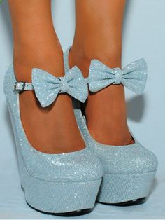blue wedges, bow crystal powder baby blue <3ly