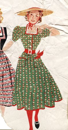 1930s dirndl inspired fashions vintage style dress clothing women green red print ethnic german octoberfest war era ethnic austrian floral puff sleeves hat color illustration print ad