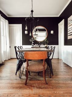 Modern, Vintage Victorian House Tour — Thoughtfully Thrifted Black and White Dining Room Style At Home, Black And White Dining Room, Black Dining Rooms, Colorful Dining Rooms, Modern Dining Rooms, Black Metal Chairs, Black Wood, Rooms Ideas, Wood Slab Table