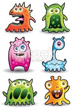 Cute Little monsters or Aliens Royalty Free Stock Vector Art Illustration