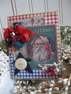 prim santa card-COUNTRY PRIM ole st NICK-may the warmth of christmas bring joy handmade card