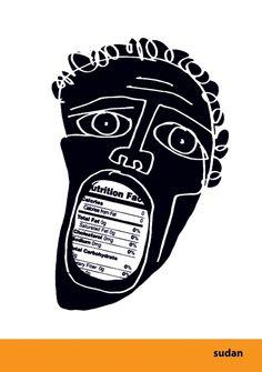 """Sudan"" poster by Luba Lukova Luba Lukova, Illustrations, Illustration Art, Political Posters, Graphic Design Posters, Graphic Designers, White Art, Art Inspo, Design Art"