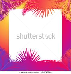 Exotic leaves Tropical frame with text space. Jungle forest frame Vector. Sunset palm tree leaf. Palm leaf silhouette Photo frame border Instagram. Tropical beach party. Sukkot branch leaf. Holiday