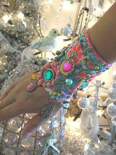 Monsoon, Gypsy Jangle, Bracelet, Bohemian Gypsy, Cuff, Vintage, Embroidery, Boho Jewelry