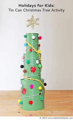 Christmas Tree Activities: Tin Can Christmas Trees are an easy holiday activity…