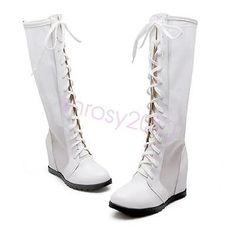 Cute Womens High Heel Mid-Calf Boots Shoes Lace Up Increase US Size BXT0497