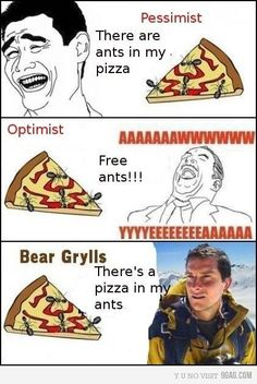 Bear Grylls doesn't like pizza in hiss ants