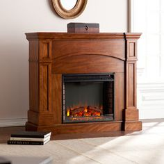 Southern Enterprises White Plains in. W Corner Convertible Infrared Electric Fireplace in Oak - The Home Depot Infrared Fireplace, Convertible, Corner Electric Fireplace, Feng Shui House, White Plains, Brick Design, Interior Design Living Room, Living Spaces, Living Rooms