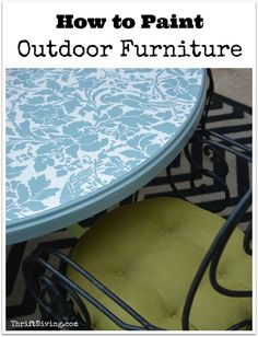 Get your patio or backyard ready for spring by painting your old furniture! See what paint I used and how to prevent chipping with sealer, along with info on the stencil. Watch the tutorial on my YouTube channel.  Thrift Diving