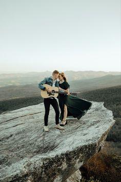 Adventurous elopement, engagement session, couple poses, couple with guitar, mountain engagement, elopement Rock Couple, Couple Posing, Couple Photos, Elope Wedding, Asheville, Portrait Photographers, Engagement Session, Guitar, Mountain