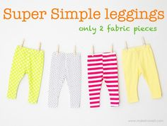 Super simple leggings that would be a great way to use up my daughters clothes she has outgrown that she loved. Now her dolly can wear them. You can even use the leggings that came with the Just like me doll. How easy!