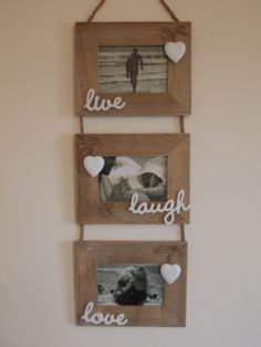 Shabby Chic Wooden Triple Live Laugh Love Hanging Photo Frames, £14.95 Hanging Photos, Live Laugh Love, Shabby Chic Style, Floating Shelves, Ladder Decor, Rustic, Frames, Home Decor, Image