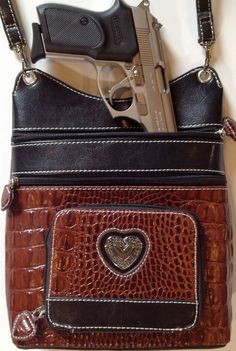 "cross body concealed carry purses | HEATHER"" CROSS BODY CROC PURSE WITH REMOVABLE HOLSTER - BROWN ..."