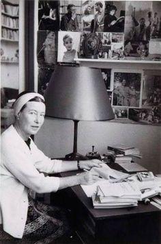 robyn-mizrach:  Simone de Beauvoir in her Paris office - 1955.