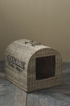 Rustic Rattan Cat House