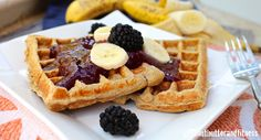PEANUT BUTTER AND FITNESS: Banana Protein Waffles with Blackberry Sauce,  whey protein, PB2