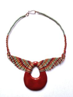 Necklace in red nr. 623 by IfatNesher on Etsy